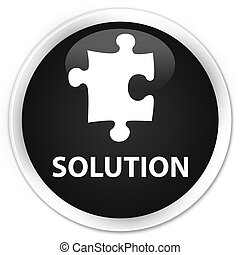 Solution (puzzle icon) premium black round button