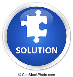 Solution (puzzle icon) premium blue round button