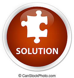 Solution (puzzle icon) premium brown round button
