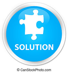 Solution (puzzle icon) premium cyan blue round button