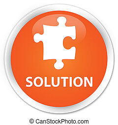 Solution (puzzle icon) premium orange round button