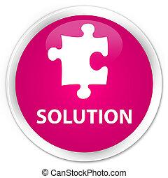 Solution (puzzle icon) premium pink round button