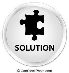 Solution (puzzle icon) premium white round button