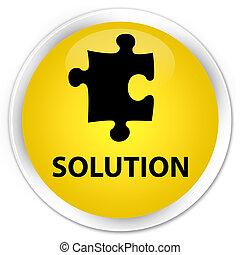 Solution (puzzle icon) premium yellow round button