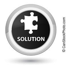Solution (puzzle icon) prime black round button