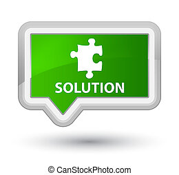 Solution (puzzle icon) prime green banner button