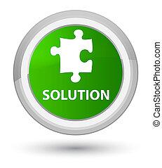 Solution (puzzle icon) prime green round button