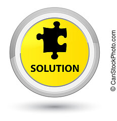 Solution (puzzle icon) prime yellow round button