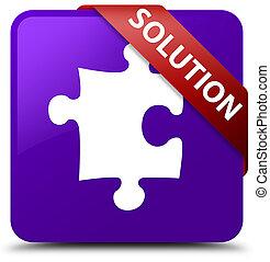 Solution (puzzle icon) purple square button red ribbon in corner
