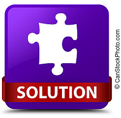 Solution (puzzle icon) purple square button red ribbon in middle