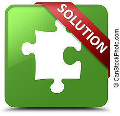 Solution (puzzle icon) soft green square button red ribbon in corner