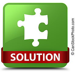 Solution (puzzle icon) soft green square button red ribbon in middle
