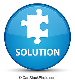 Solution (puzzle icon) special cyan blue round button
