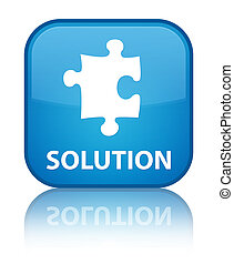 Solution (puzzle icon) special cyan blue square button