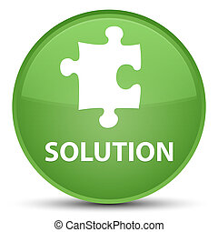 Solution (puzzle icon) special soft green round button