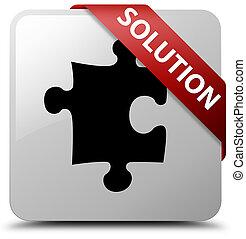 Solution (puzzle icon) white square button red ribbon in corner