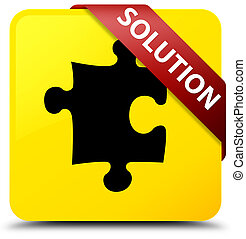 Solution (puzzle icon) yellow square button red ribbon in corner