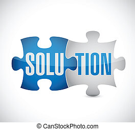 solution puzzle illustration design over a white background