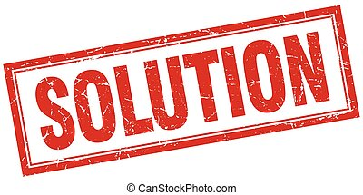 solution red grunge square stamp on white