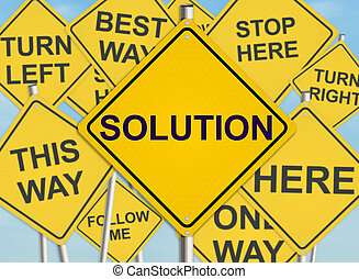Solution. Road sign on the sky background. Raster ...