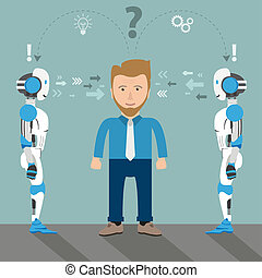 solution, robots, 2, homme affaires, problème, dessin animé