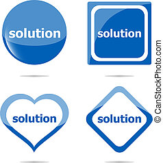 solution stickers set isolated on white, icon button