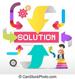 Solution Title with Colorful Paper Arrows Vector Illustration