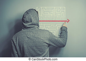 Solution to a labyrinth