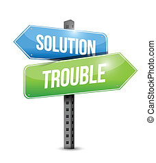 solution trouble road sign illustration design over a white...