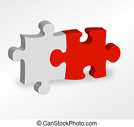 Two pieces of a puzzle sticking together.