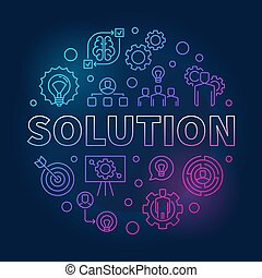Solution vector round outline colored illustration