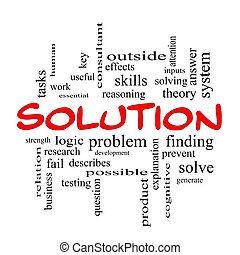 Solution Word Cloud Concept in red caps with great terms such as theory, problem, solve and more.
