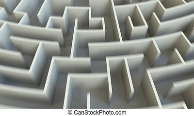 SOLUTION word in the center of a big maze. Conceptual 3D animation