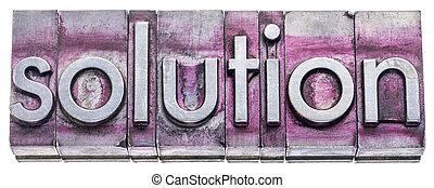 solution word in vintage letterpress metal types