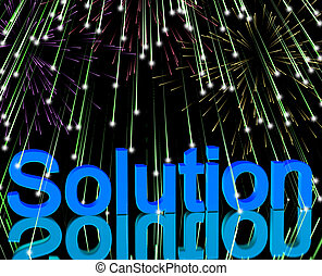 Solution Word With Fireworks Showing Success Acheivement And Strategies