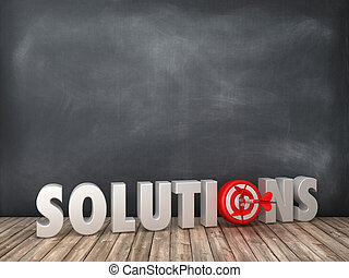 SOLUTIONS 3D Word with Target on Chalkboard Background