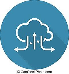 solutions., apartamento, desenho, nuvem, online