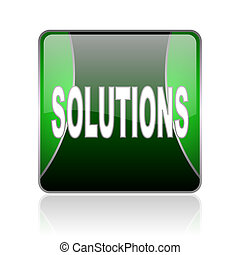 solutions black and green square web glossy icon