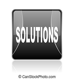 solutions black square web glossy icon