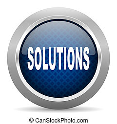 solutions blue circle glossy web icon on white background, round button for internet and mobile app