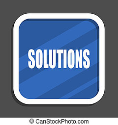 Solutions blue flat design square web icon