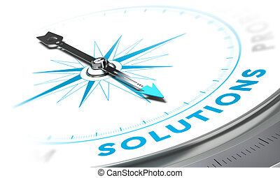 Solutions - Compass with needle pointing the word solutions,...