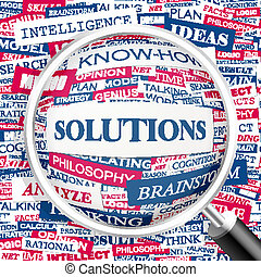 SOLUTIONS. Concept illustration. Graphic tag collection. ...