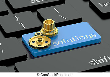 Solutions concept on blue keyboard button