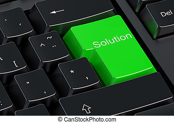 Solutions concept on green keyboard button