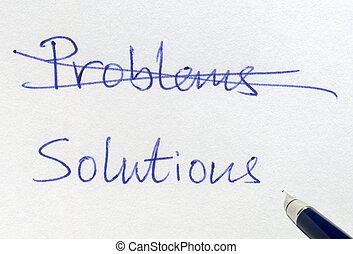 solutions., croisement, dehors, problèmes, écriture
