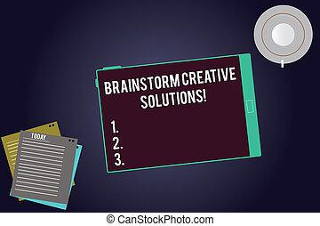 solutions., intensif, projection, groupe, business, tablette, tasse, colorez photo, discussion, écriture, note, filler, idée génie, arrière-plan., feuilles, showcasing, indépendant, créatif, écran, soucoupe