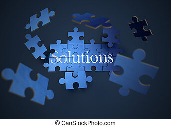 Solutions jigsaw puzzle - 3D rendering of a forming puzzle...