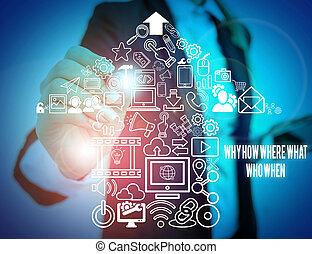 solutions, où, question, usure, device., écriture, photo, travail, comment, utilisation, trouver, formel, présentation, complet, présentation, when., note, questions, pourquoi, intelligent, projection, showcasing, quel, femme affaires, demander