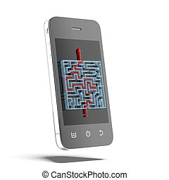 solutions of maze on the phone isolated on a white...